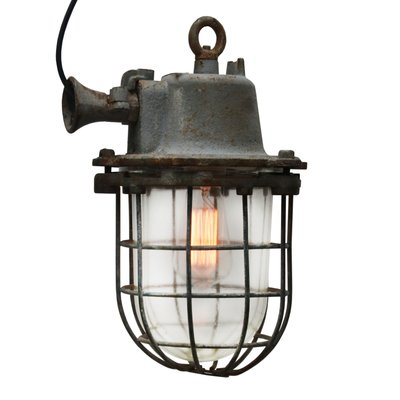 Graue industrielle Vintage Gitterlampe aus Gusseisen