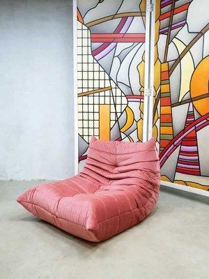 Rosafarbener Vintage Togo Sessel von Michael Ducaroy für Ligne Roset