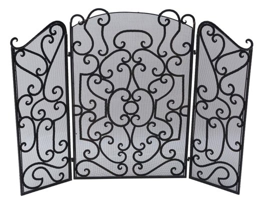 Antique Wrought Iron Fireplace Screen
