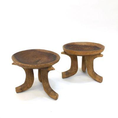 Brutalist Wooden Side Tables, 1940s, Set Of 2