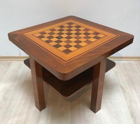 Bauhaus Walnut and Maple Veneer Chess Table, 1930s