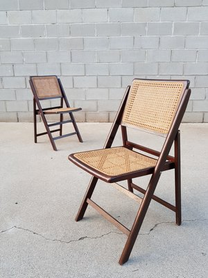 Fine Vintage Folding Wood Wicker Chairs 1960S Set Of 2 Machost Co Dining Chair Design Ideas Machostcouk