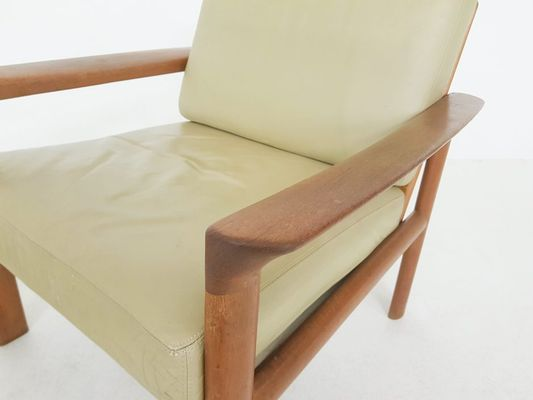 Awe Inspiring Danish Leather Teak Lounge Chair Ottoman By Sven Ellekaer For Komfort 1960S Pabps2019 Chair Design Images Pabps2019Com