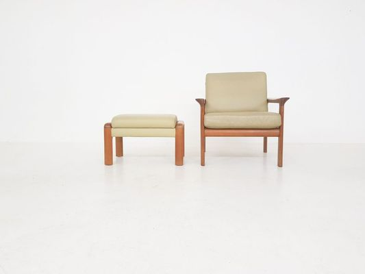 Peachy Danish Leather Teak Lounge Chair Ottoman By Sven Ellekaer For Komfort 1960S Pabps2019 Chair Design Images Pabps2019Com