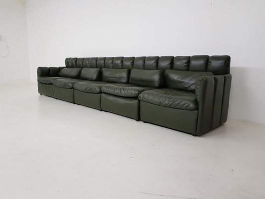 Astounding Large German Dark Green Leather Modular Sofa Set 1960S Gamerscity Chair Design For Home Gamerscityorg