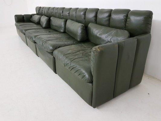Large German Dark Green Leather Modular Sofa Set, 1960s