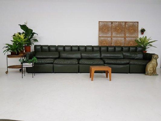 Large German Dark Green Leather Modular Sofa Set 1960s