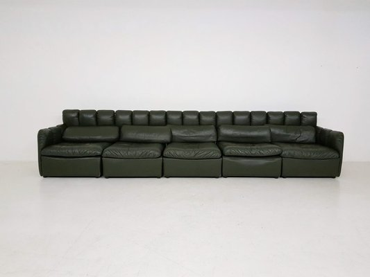 Large German Dark Green Leather Modular Sofa Set 1960s 1