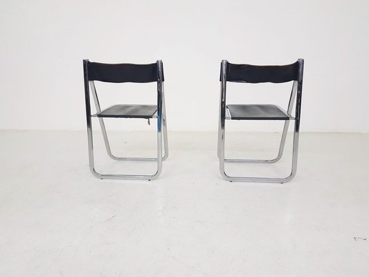 Admirable Italian Chrome Leather Tamara Folding Chairs From Arrben 1970S Set Of 2 Gmtry Best Dining Table And Chair Ideas Images Gmtryco