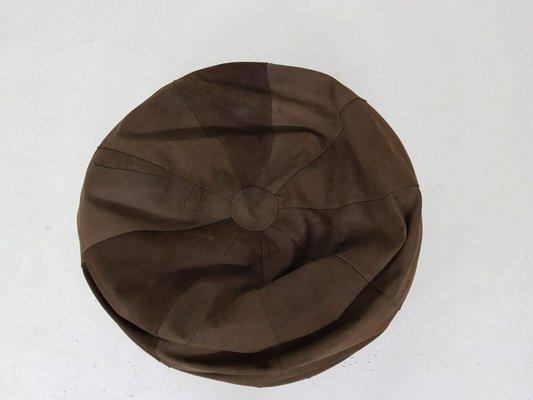 Vintage Brown Suede Bean Bag Chair 1970s