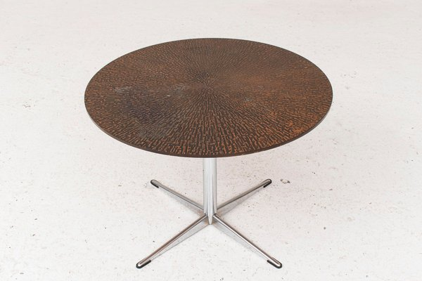 Round Coffee Table With A Metal Base U0026 Copper Top, 1950s