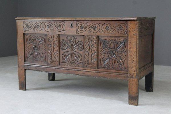 Antique Carved Oak Coffer For At