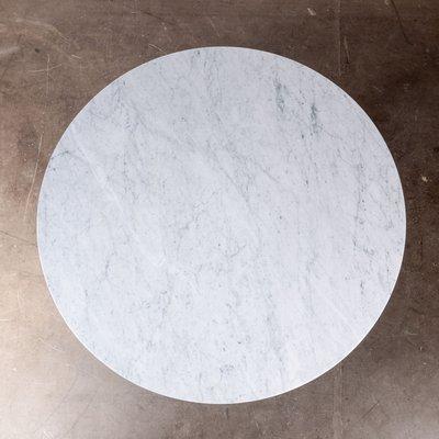 table console ronde industrielle avec plateau en marbre de carrare de taylor hobson 1920s
