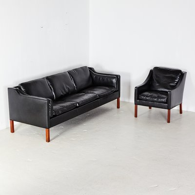 Model 2213 Leather Living Room Set By Børge Mogensen For Fredericia 1962 For Sale At Pamono