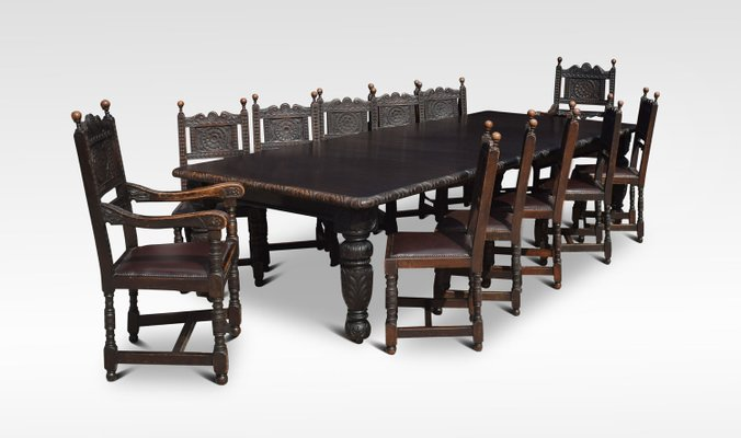 Vintage Carved Oak Dining Table 12 Chairs Set 1