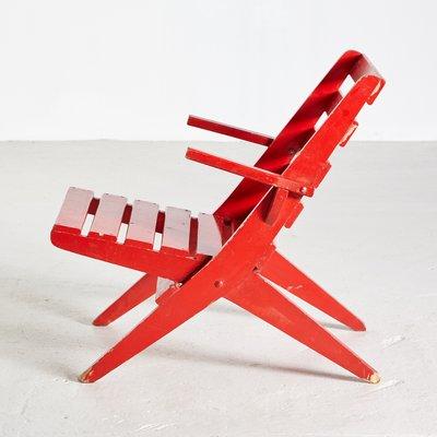 Chaise de Jardin Pliante Vintage Rouge, 1970s