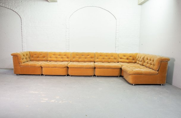 Miraculous Modular Peach Velvet Sofa Set From Dreipunkt 1970S Short Links Chair Design For Home Short Linksinfo