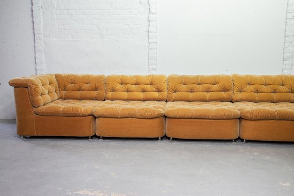 Astonishing Modular Peach Velvet Sofa Set From Dreipunkt 1970S Short Links Chair Design For Home Short Linksinfo