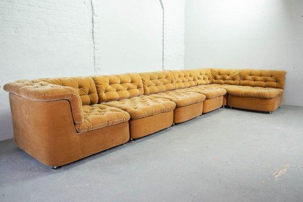 Modular Peach Velvet Sofa Set From