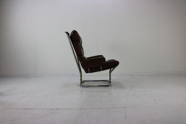 Pleasant Brown Leather Sling Chair By Ingmar Relling Spiritservingveterans Wood Chair Design Ideas Spiritservingveteransorg