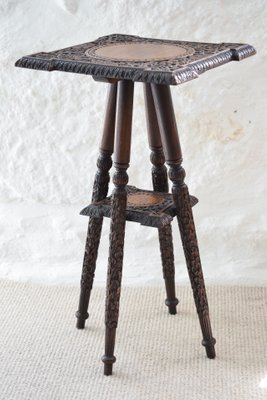 Side Table India.Antique Indian Carved Wooden Side Table From Walsh Co 1890s