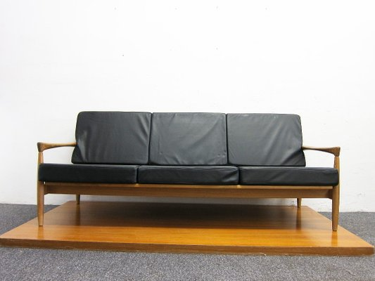 3-Seater Oak & Leather Sofa by Erik Wørts, 1960s