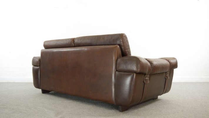 Vintage Brown Leather 2-Seater Sofa, 1960s for sale at Pamono