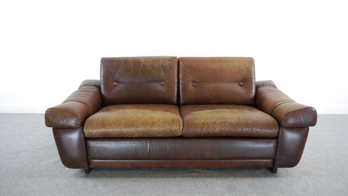 Vintage Brown Leather 2 Seater Sofa 1960s