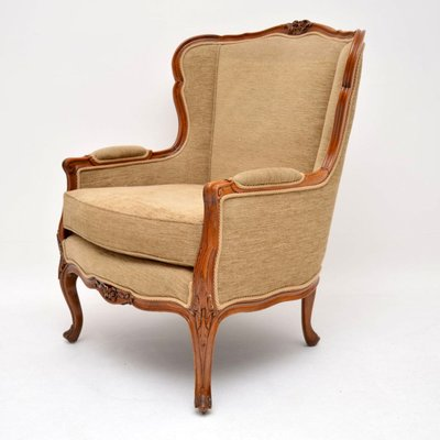Vintage French Louis Style Carved Walnut Armchair For Sale At Pamono
