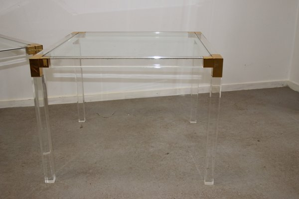 Gold Plated Plexigl Coffee Tables By Charles Hollis Jones Set Of 2