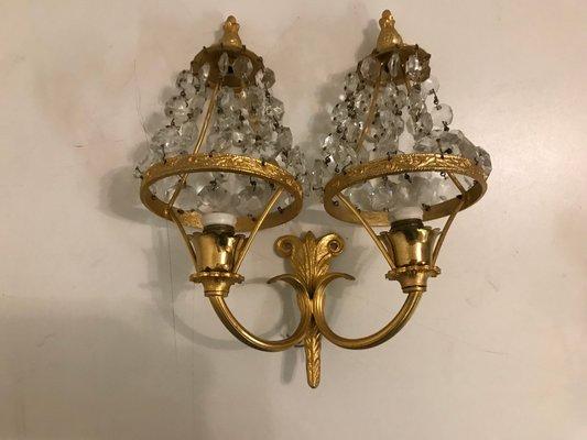 Vintage Crystal Sconces Set Of 2