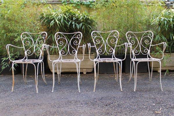 White Enamel Garden Chairs 1950s Set, White Garden Furniture