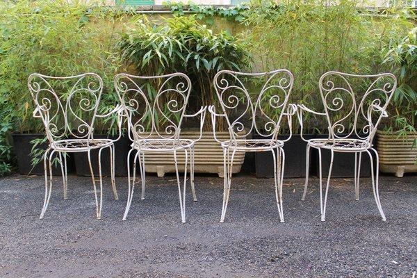 Sedie Da Giardino Bianche.Sedie Da Giardino Smaltate Bianche Anni 50 Set Di 4 In Vendita