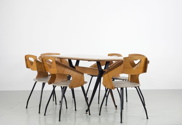 Mid Century Italian Dining Chairs And Table Set By Carlo Ratti, 1950s
