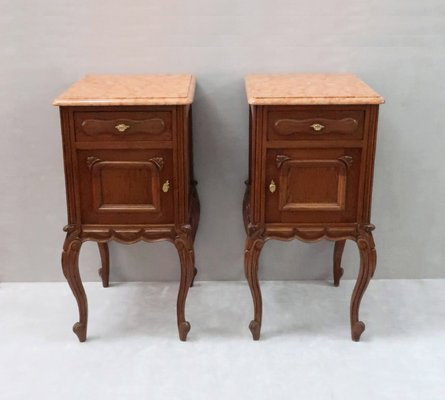 low priced d62f3 0207d Continental Oak Bedside Cabinets, 1910s, Set of 2