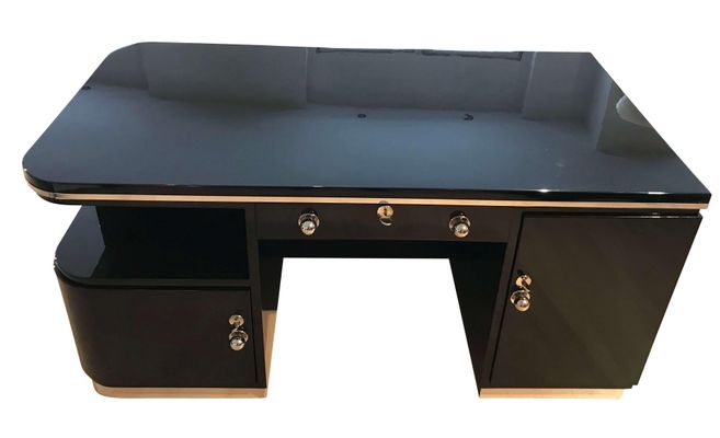 Super Art Deco French Black Lacquered Chromed Desk 1930S Download Free Architecture Designs Rallybritishbridgeorg