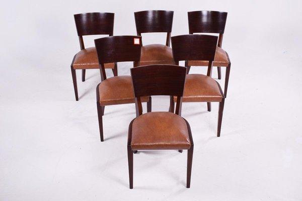 Art Deco Walnut Dining Chairs, 1920s, Set of 6