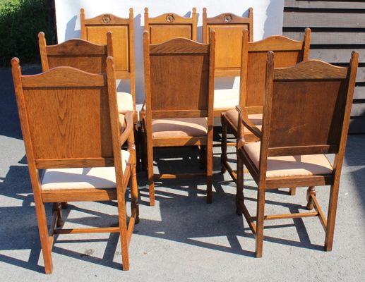 Strange Oak Highback Chairs With Rose Motif 1920S Set Of 8 Squirreltailoven Fun Painted Chair Ideas Images Squirreltailovenorg