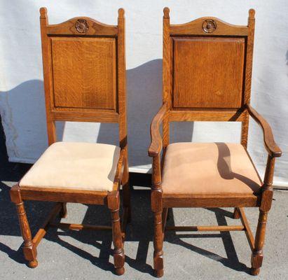 Remarkable Oak Highback Chairs With Rose Motif 1920S Set Of 8 Squirreltailoven Fun Painted Chair Ideas Images Squirreltailovenorg