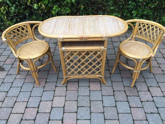 Rattan Table Chairs Set 1960s For
