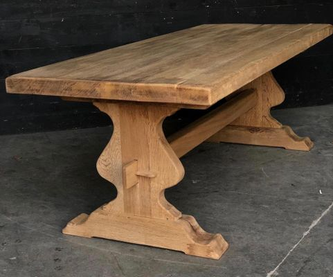 Antique French Heavy Solid Oak Kitchen Dining Table 1