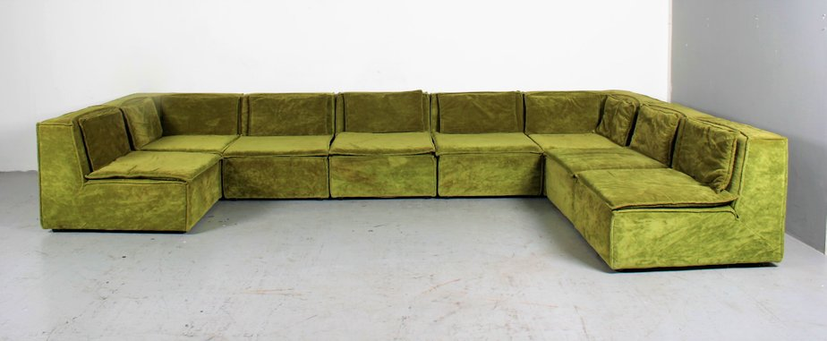 Large Vintage Green Velvet Lounge Sofa for sale at Pamono