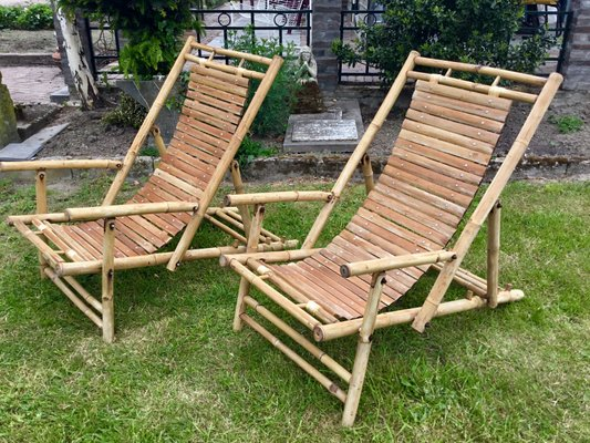 Bamboo Lounge Deck Chairs 1950s Set Of 2