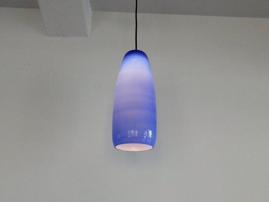 Italian Cobalt Blue Sigaro Pendant Lamp By Massimo Vignelli For Venini 1950s