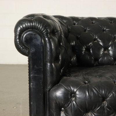 Antique Italian Black Leather Chesterfield Sofa