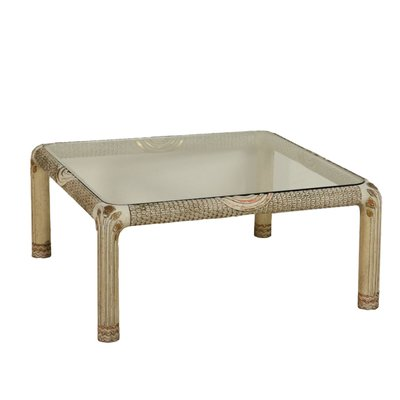 Table Basse Vintage Bois.Table Basse Vintage En Bois Laque Et Verre Italie 1960s