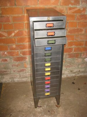 Polished Metal Industrial 15 Drawer Filing Cabinet From Bisley , 1970s 2