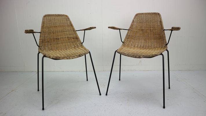 Sedie in vimini di Gian Franco Legler, anni \'50, set di 2