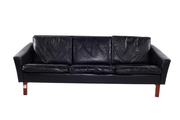 Danish Black Leather Sofa, 1950s