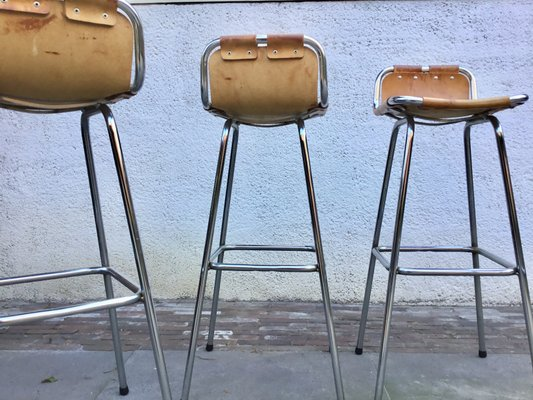 Amazing Leather Chrome Les Arcs Bar Stools By Charlotte Perriand 1960S Set Of 4 Pdpeps Interior Chair Design Pdpepsorg